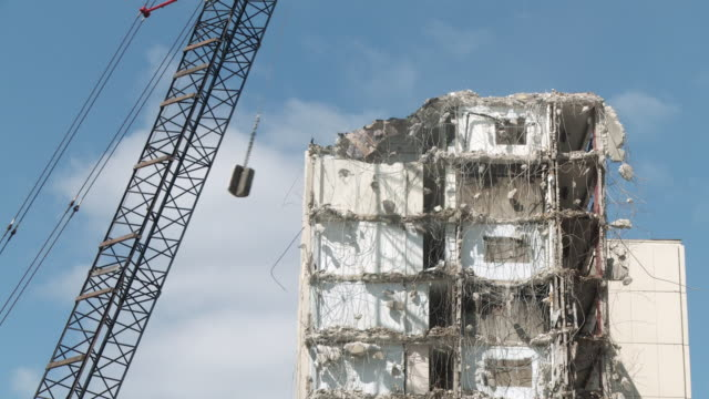 ws view of building demolition / chicago, illinois, usa - rubble stock videos & royalty-free footage