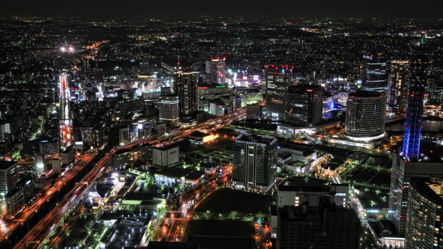 WS T/L HA View of buildings and busy streets in Yokohama at night/ Tokyo, Japan