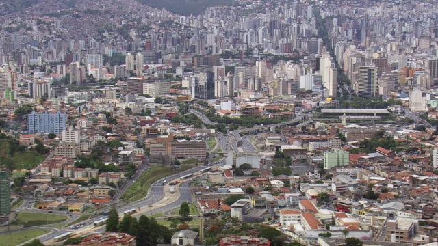 ws aerial view of buildings and street / minas gerais, brazil - minas stock videos and b-roll footage