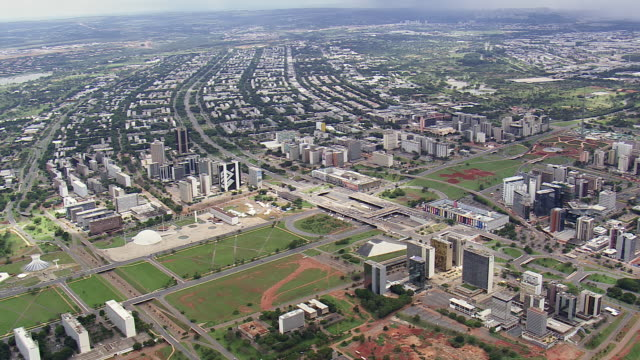 ws aerial view of buildings and streets / brasilia, brazil - brasilia stock videos and b-roll footage