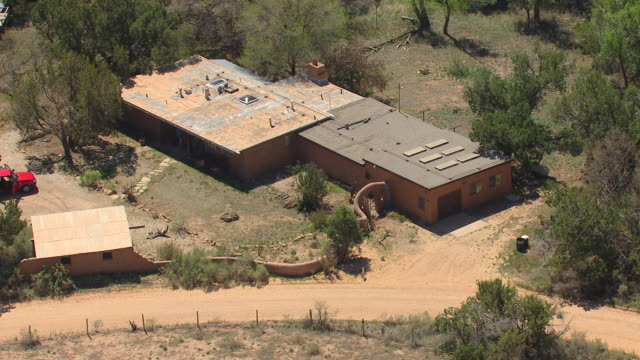 WS AERIAL View of buildings at Ghost Ranch retreat and education center / Abiquiu, New Mexico, United States