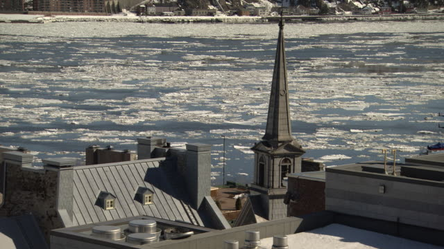 WS View of Buildings beside last moving St Lawrence river / Quebec, Canada