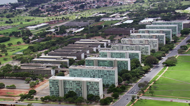 WS AERIAL View of buildings / Brasilia, Brazil