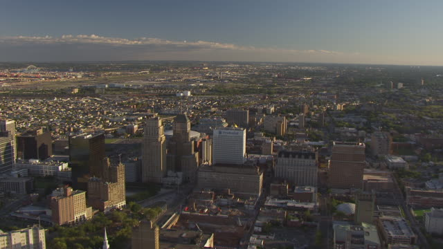 WS AERIAL View of buildings downtown / Newark, New Jersey, United States