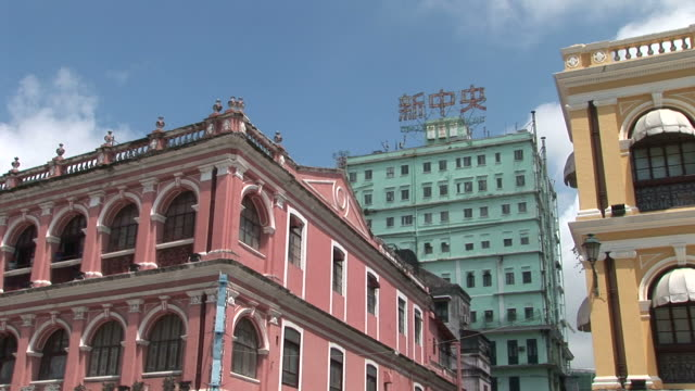 view of buildings in senado square of macau china - leal senado square stock videos & royalty-free footage