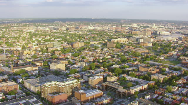 WS AERIAL POV View of buildings in U Street area / Washington DC, United States