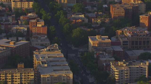 ws aerial pov view of buildings in u street area / washington dc, united states - 2014 stock videos & royalty-free footage