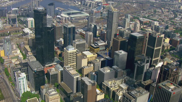 WS AERIAL View of buildings/ Melbourne, Victoria, Australia