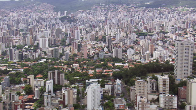 ws aerial view of buildings/ minas gerais, brazil - minas gerais stock videos and b-roll footage