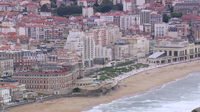WS AERIAL View of buildings near Biarritz bay at Atlantic coast / Aquitaine, France