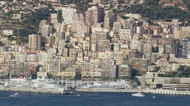 WS AERIAL View of buildings near coast / Monaco, France