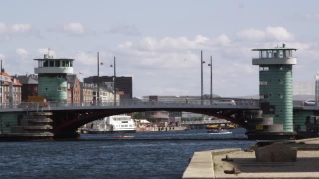 vídeos de stock, filmes e b-roll de ws view of buildings near havnebade canal and vehicles passing on bridge  / copenhagen, denmark - grupo pequeno de animais