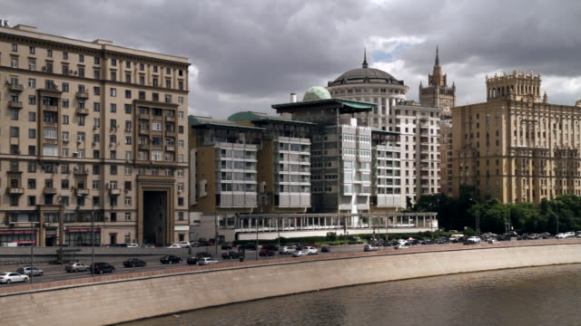 WS View of buildings of Stalin's era and building of British Embassy in center / Moscow, Russia