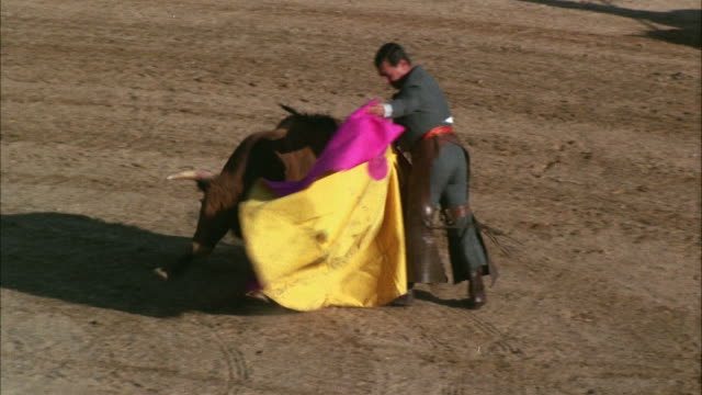 ws ts view of bullfighter with cape charging bull - charging sports stock videos & royalty-free footage
