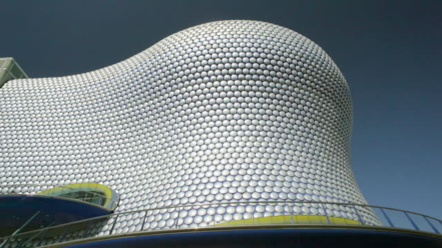 ws pan view of bullring shopping centre / birmingham, uk - aluminum点の映像素材/bロール