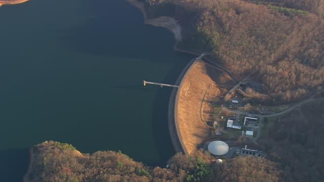 WS AERIAL View of Burnett Reservoir / North Carolina, United States
