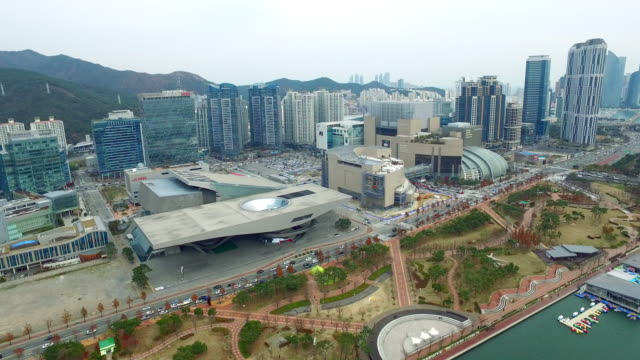 view of busan cinema center, busan, south korea - busan stock videos & royalty-free footage