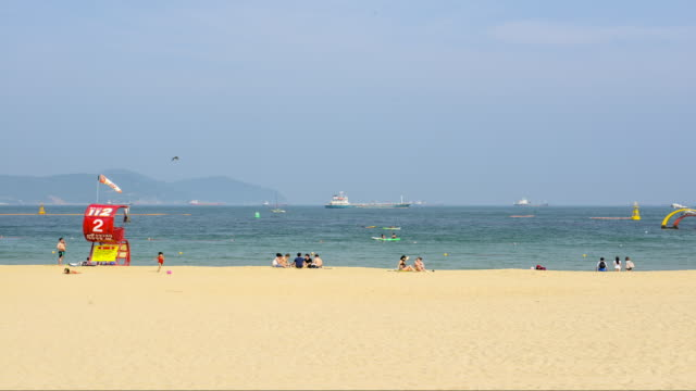 view of busan songdo beach - lifeguard chair stock videos & royalty-free footage