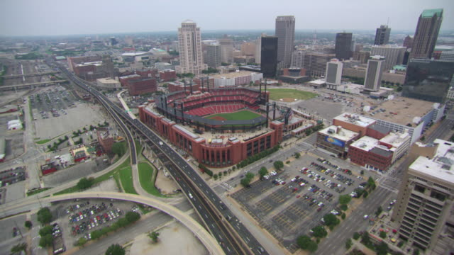 AERIAL WS DS View of Busch Stadium in city / St Louis, Missouri, United States