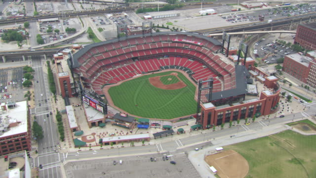 AERIAL WS View of Busch Stadium in city / St Louis, Missouri, United States