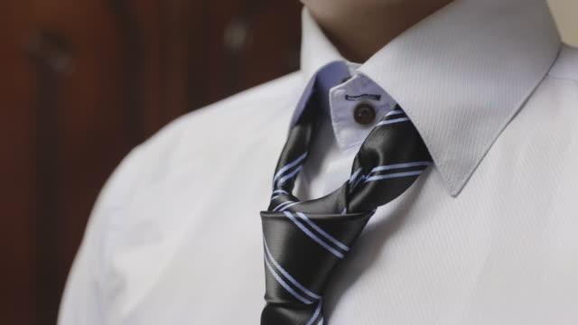 View of business man adjusting necktie