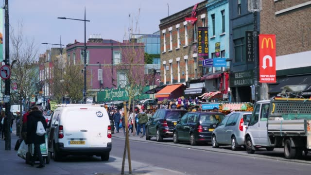 view of busy camden high st, london - stationary stock videos & royalty-free footage