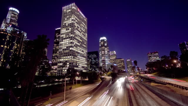 WS T/L View of busy city road at night time / Los Angeles, California, USA