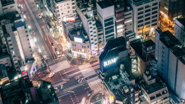 t/l ws pan view of busy traffic in tokyo at night / tokyo, japan - long exposure点の映像素材/bロール