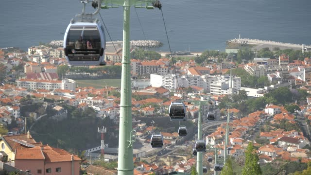 stockvideo's en b-roll-footage met view of cable cars from botanical gardens with old town visible in background, funchal, madeira, portugal, atlantic, europe - uitzicht over stadje