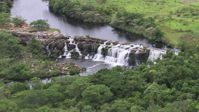 ws aerial view of cachoeira grande waterfall / minas gerais, brazil - cachoeira stock videos and b-roll footage