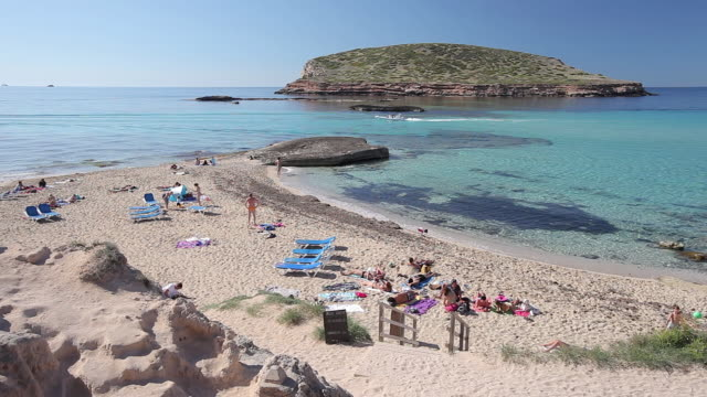 ws view of cala comte and illa des bosc / ibiza, balearic islands, spain  - balearic islands stock videos and b-roll footage