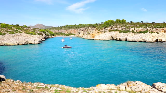 view of cala magraner on east coast on spanish balearic island of majorca / spain - balearics stock videos & royalty-free footage