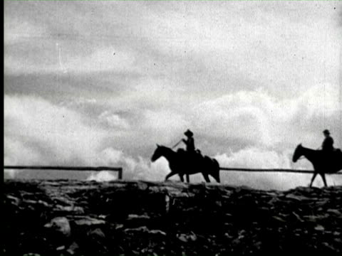 b/w view of camp life of horse rider, united states / audio - vier tiere stock-videos und b-roll-filmmaterial