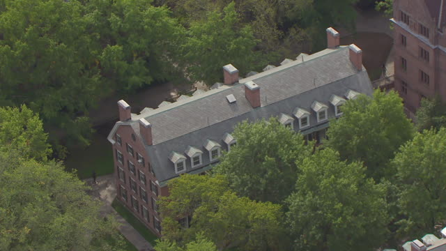 WS AERIAL POV View of campus surrounding Yale School of Drama building and University Theatre / New Haven, Connecticut, United States