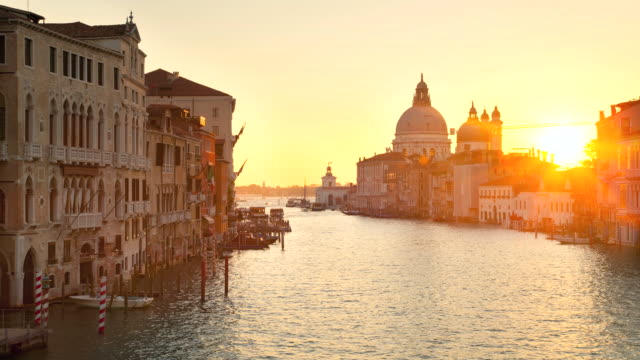 WS T/L View of Canal Grande and Santa Maria della Salute church at sunrise / Venice Veneto Italy