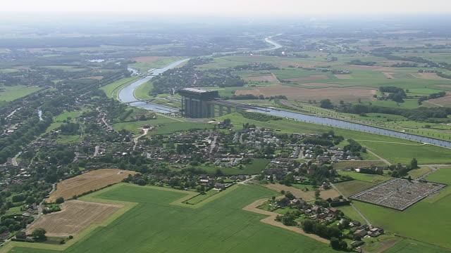 ws aerial zi pan ds view of canal / walloon region, belgium - ベルギー点の映像素材/bロール