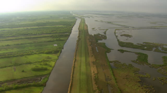 ws aerial view of canals and marsh / louisiana, united states - louisiana video stock e b–roll