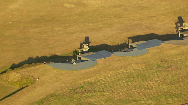 WS AERIAL View of cannon on fort Casey at coast of Whidbey Island / Washington, United States