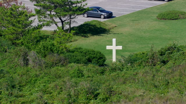 ws aerial zi zo view of cape henry cross / virginia, united states - religious equipment stock videos & royalty-free footage