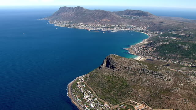 ws aerial view of cape point / cape town, western cape, south africa - ケープ半島点の映像素材/bロール