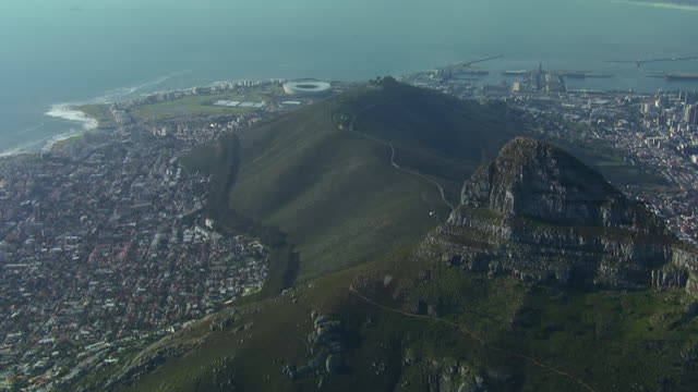 WS AERIAL View of Cape Town, from Lion's Head towards Green Point / Cape Town, Western Cape, South Africa