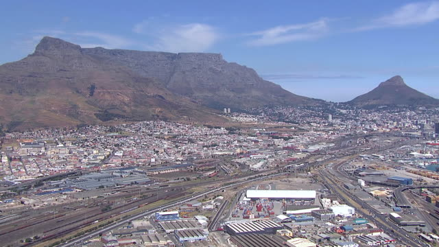 WS AERIAL ZO View of Cape Town, with Table Mountain and Lion's Head / Cape Town, Western Cape, South Africa
