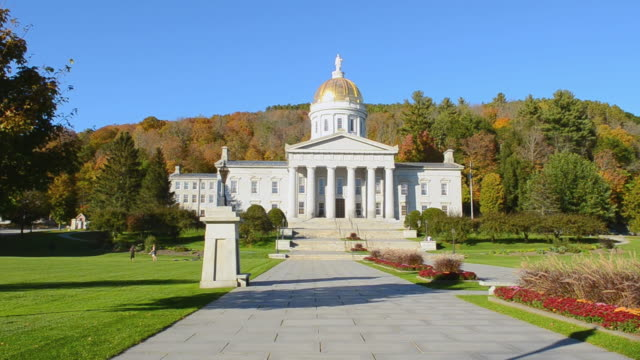 WS View of Capital city smallest with Capitol Building dome with fall foliage in Northern New England / Montpelier, Vermont, United States