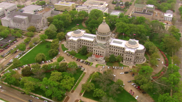 WS AERIAL ZI View of capitol building and surrounding downtown buildings / Jackson, Mississippi, United States