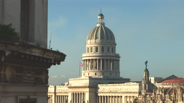 ms view of capitol, parque central, teatro garcia lorca and hotel inglaterra / havana city, havana, cuba - inglaterra stock videos & royalty-free footage