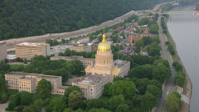 ws zi aerial view of capitol with gold dome / charleston, west virginia, united states - dome stock videos & royalty-free footage