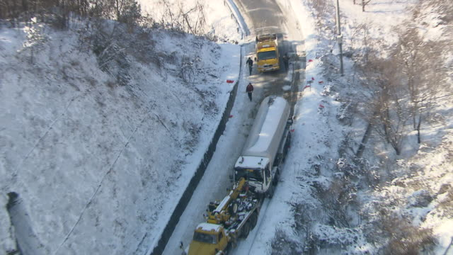MS ZO DS View of car accident by heavy snowfall / Gangwondo, South Korea