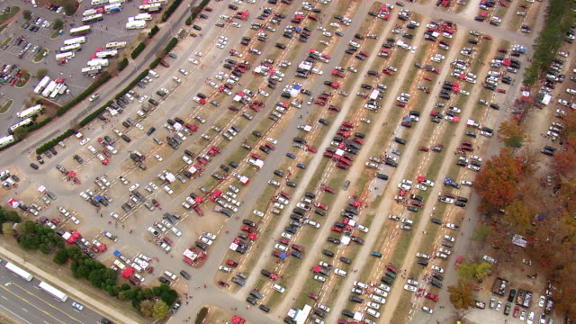 ws aerial view of car parking area for carter finley stadium - during game / north carolina, united states - parking stock videos & royalty-free footage