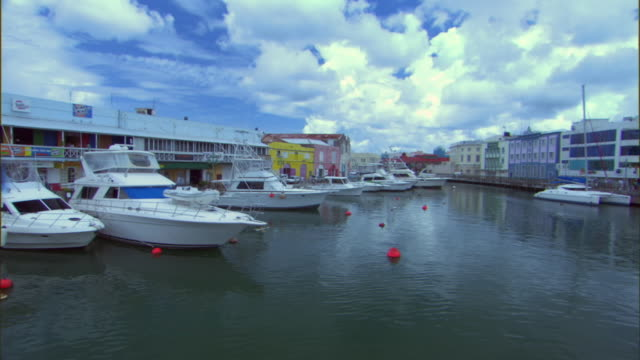 ws view of careenage and harbor / bridgetown, st michael, barbados - capital cities stock videos & royalty-free footage
