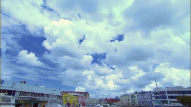 ws td view of careenage and harbor / bridgetown, st michael, barbados - 天使ミカエル点の映像素材/bロール